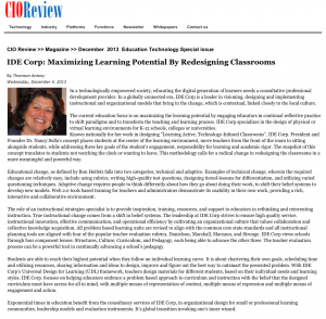 CIO Review article - IDE Corp- Maximizing Learning Potential By Redesigning Classrooms