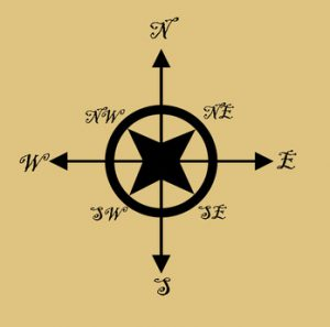 Illustration of old fashioned nautical compass, isolated on brown background.